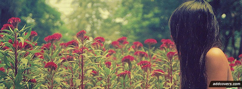 Girl flower field Facebook Covers