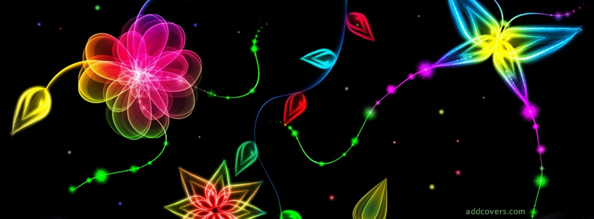 Neon Glowing Flowers {Colorful & Abstract Facebook Timeline Cover Picture, Colorful & Abstract Facebook Timeline image free, Colorful & Abstract Facebook Timeline Banner}