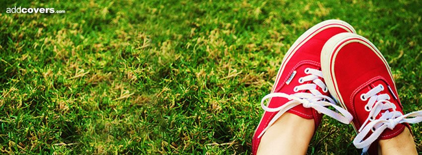 Red shoes in the Grass Facebook Covers
