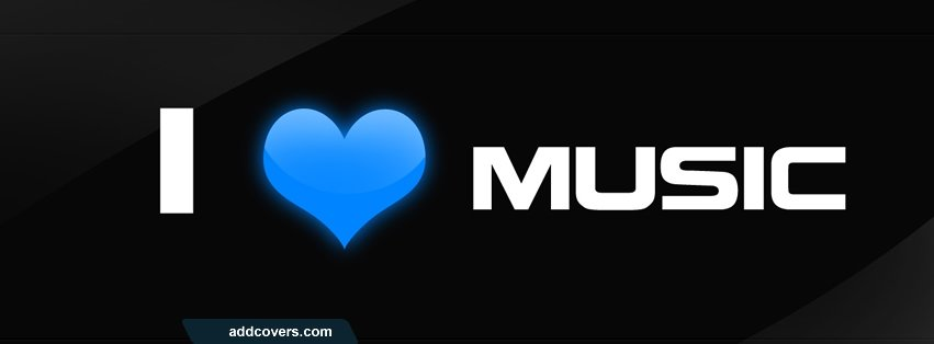 I love music Blue Facebook Covers