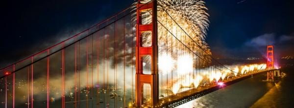 Fireworks over the Golden Gate Bridge